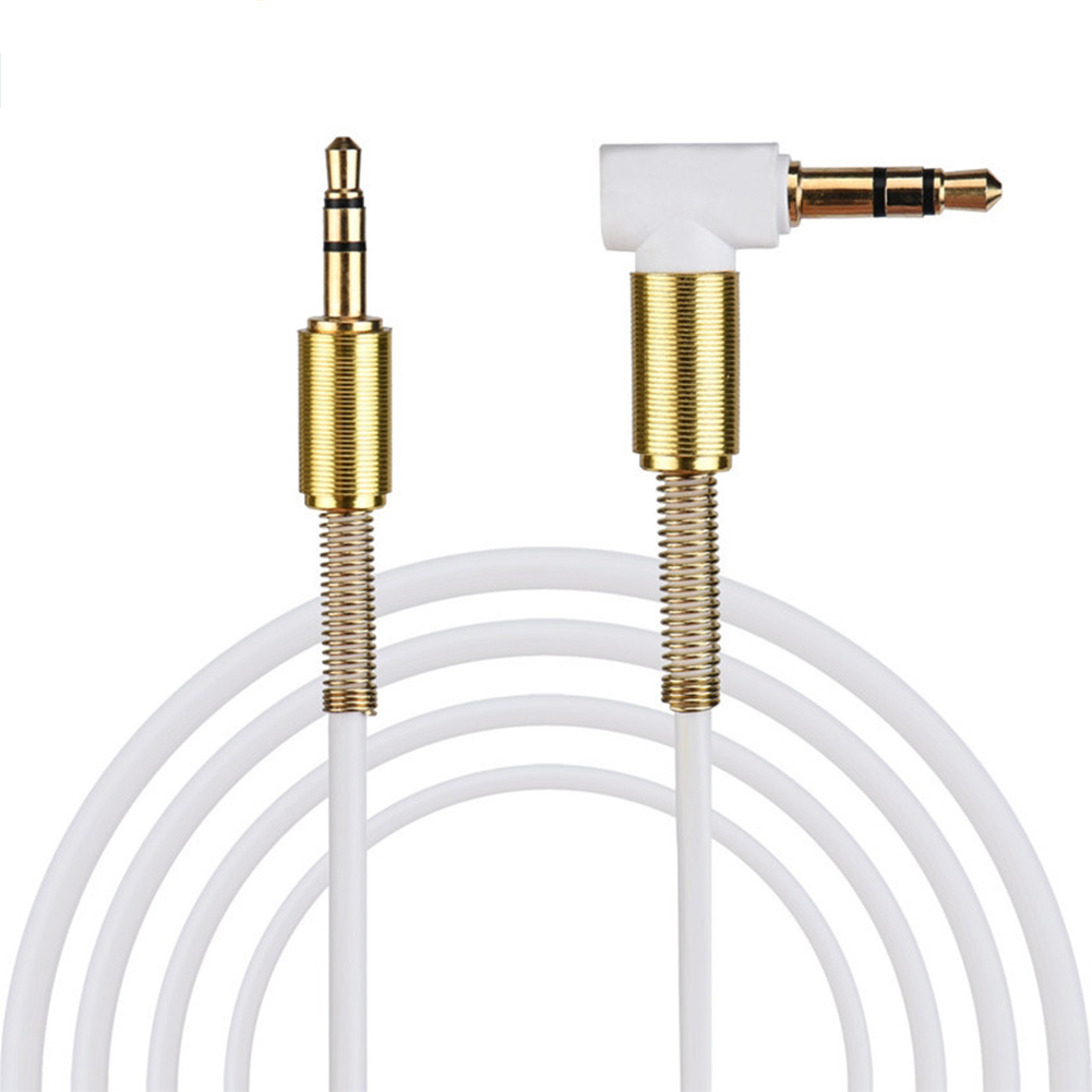 3.5mm Jack Audio Cable TPE Male to Male 90° Aux Cable 1m/3.28 inch white