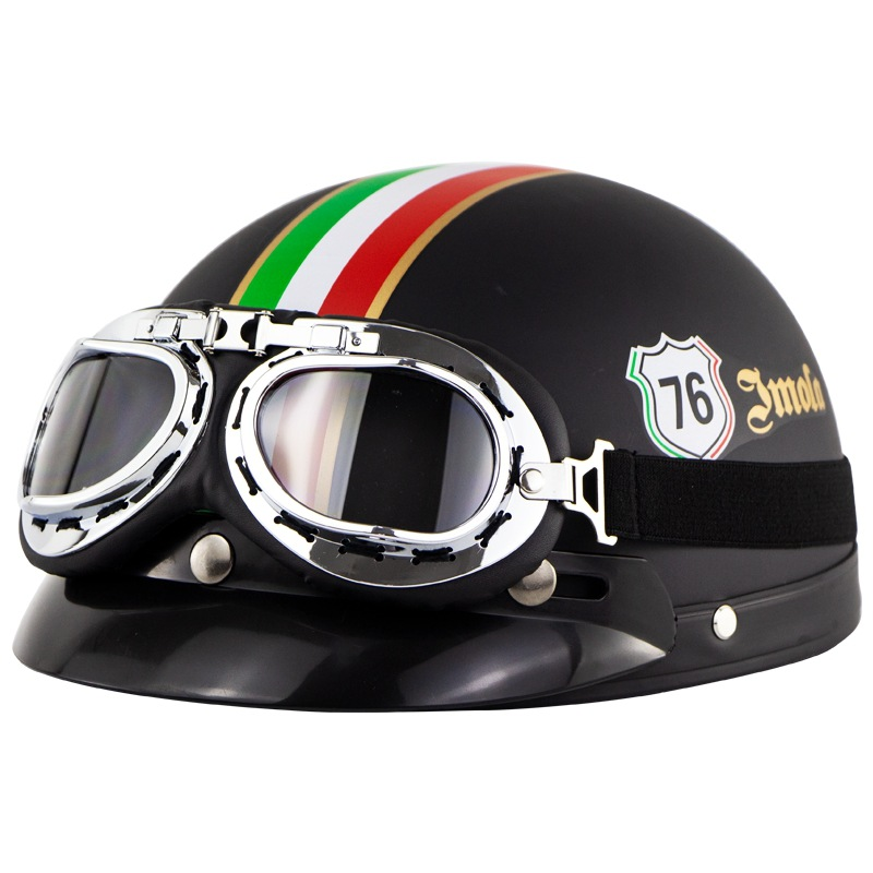 Unisex Cute Motorcycle Helmet Bike Riding Protective Strong Safety Half-face Helmet with Goggles Matte black 76_One size