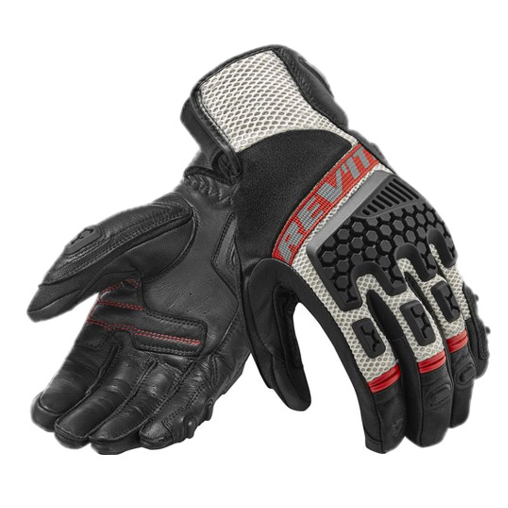 Breathable Leather Touch screen Gloves for Outdoor Motorcycle Cycling Riding Racing red_L
