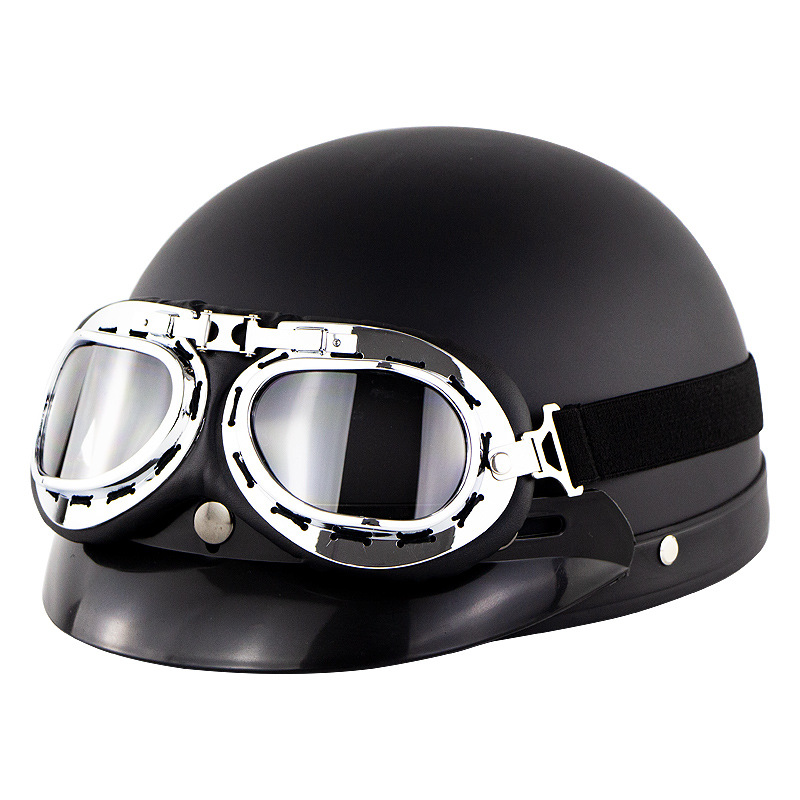 Unisex Cute Motorcycle Helmet Bike Riding Protective Strong Safety Half-face Helmet with Goggles Matte black_One size
