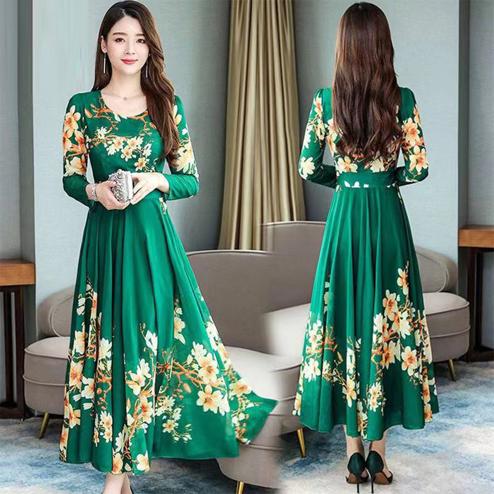 Woman Round Neck Leisure Dress Long Sleeves Dress with Floral Printed Party green_4XL