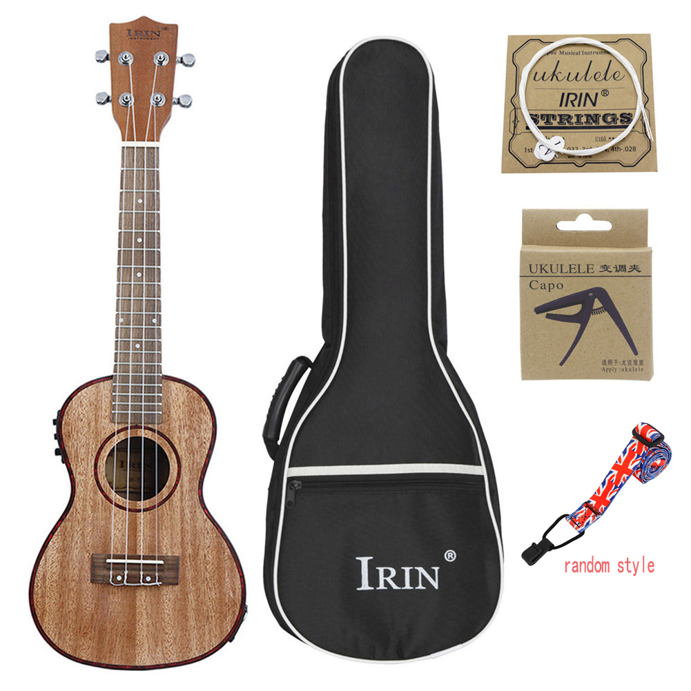 24inch Ukulele Sapele Wood with LCD EQ Carrying Bag Capo Strings Strap Musical Instrument for Ukulele Beginner Wood color
