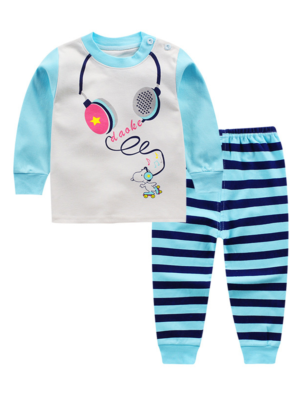 Baby's Kids Cotton Underwear Home Suit Cartoon Clothing Two Pieces Pajamas Set A music headphones_90/60