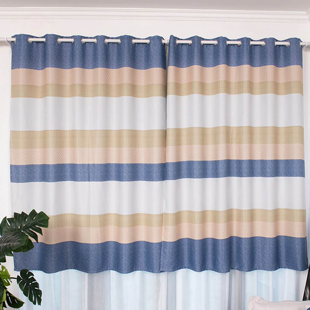 Short Stripes Printing Window Curtain Shading Drapes for Dormintory Bedroom blue_1.5 meters wide * 2 meters high