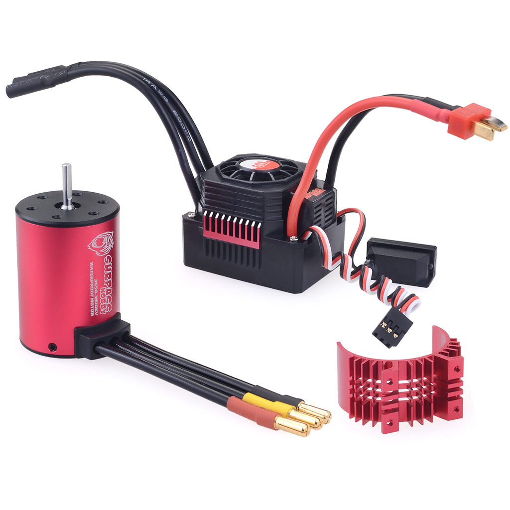 Surpass Hobby 3650 3600Kv Rc Car Motor+60A Waterproof Esc 2-3S for 1/10 Rc Models Buggy Drift red