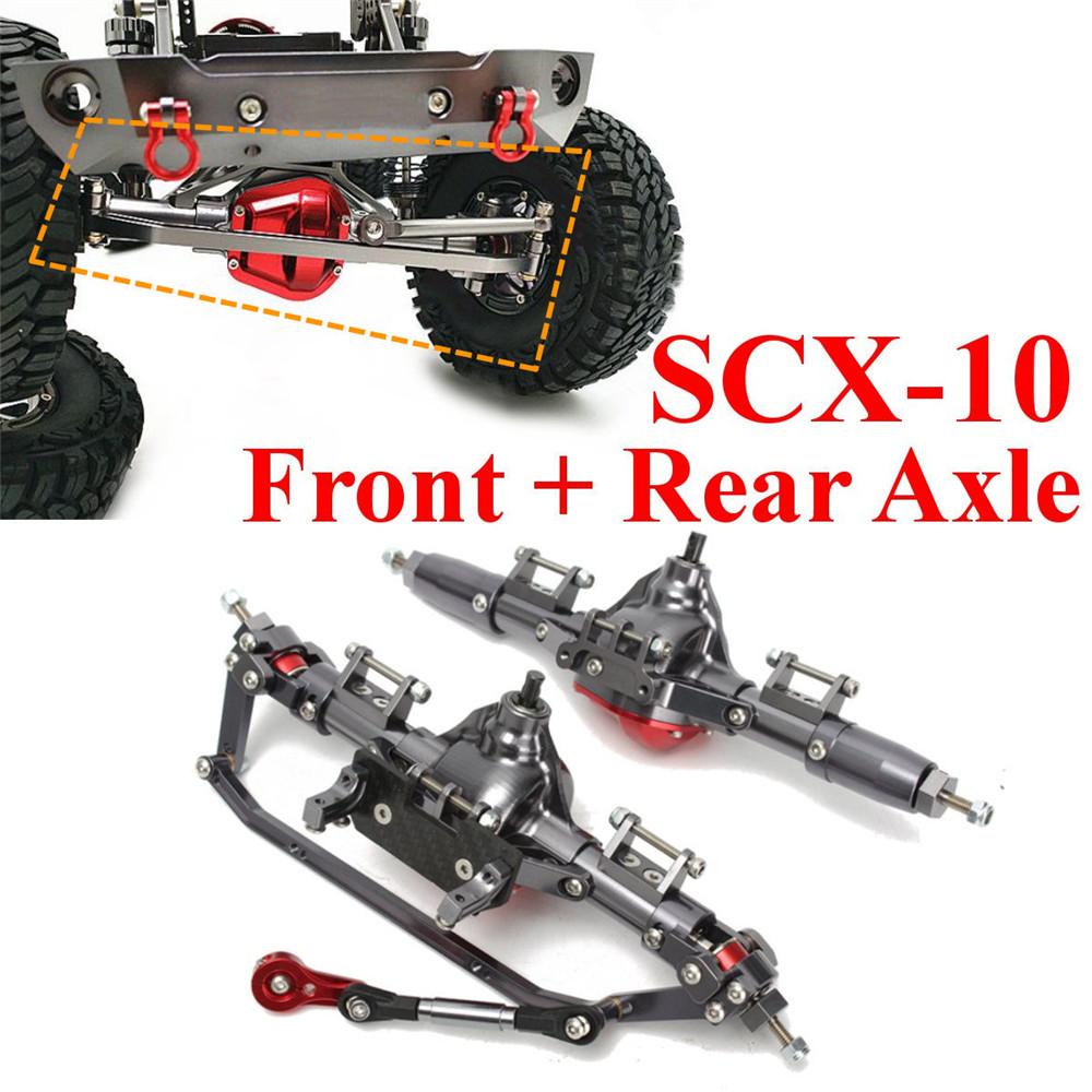 2PCS CNC Aluminum Front + Rear Rock Bridge Axle for AXIAL Honcho Jeep SCX10 1/10 Rc Car Parts as shown