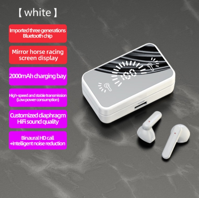 S20 Mirror Surface Wireless Bluetooth Headset Mini Invisible Long Standby Bluetooth Headset White