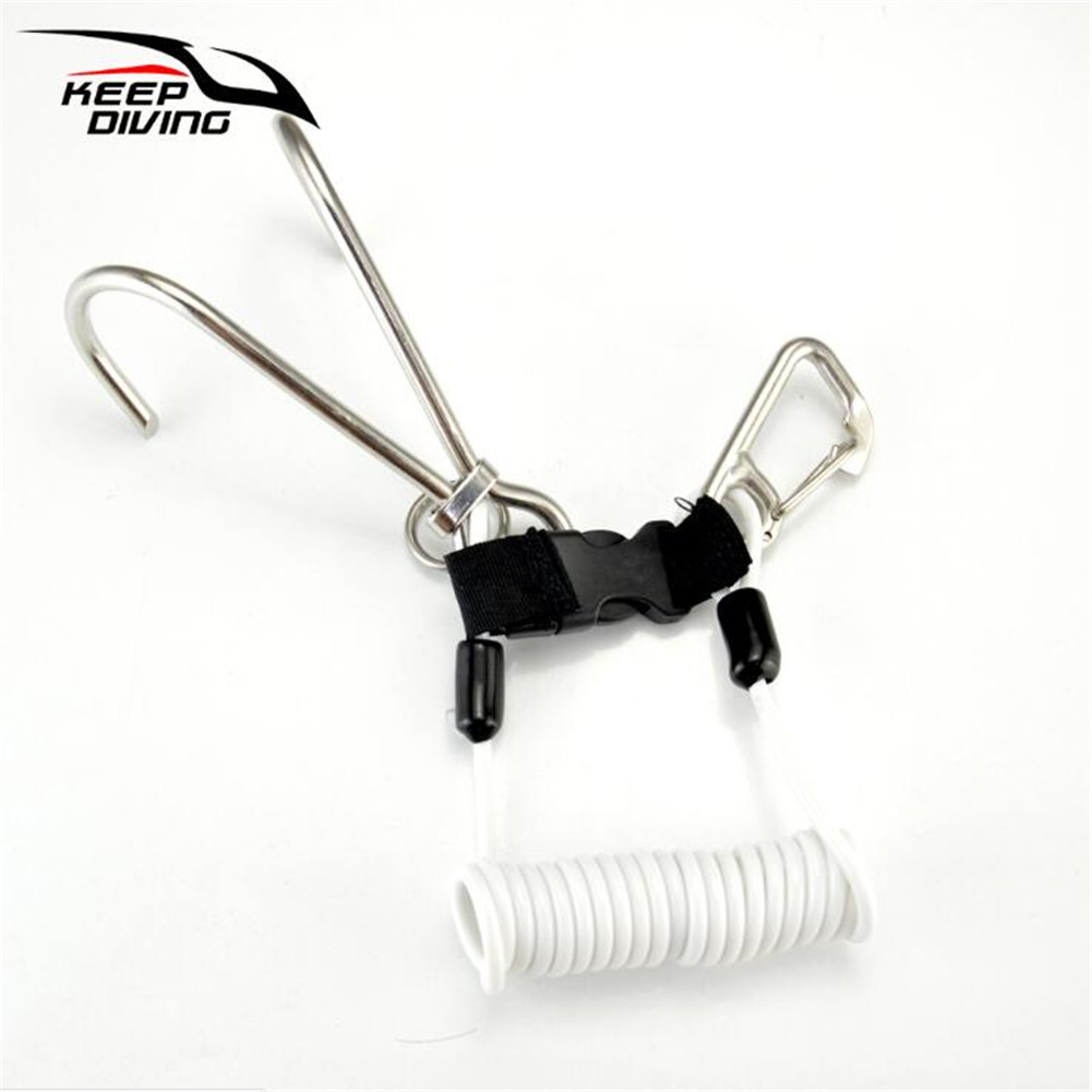 Stainless Steel Spring Rope Reef Hook (Double Hook) Dive Gear Diving Accessories Transparent