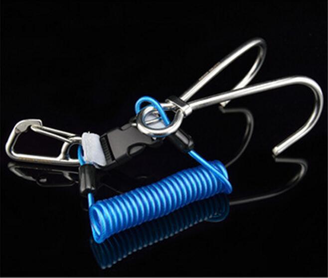 Stainless Steel Spring Rope Reef Hook (Double Hook) Dive Gear Diving Accessories blue