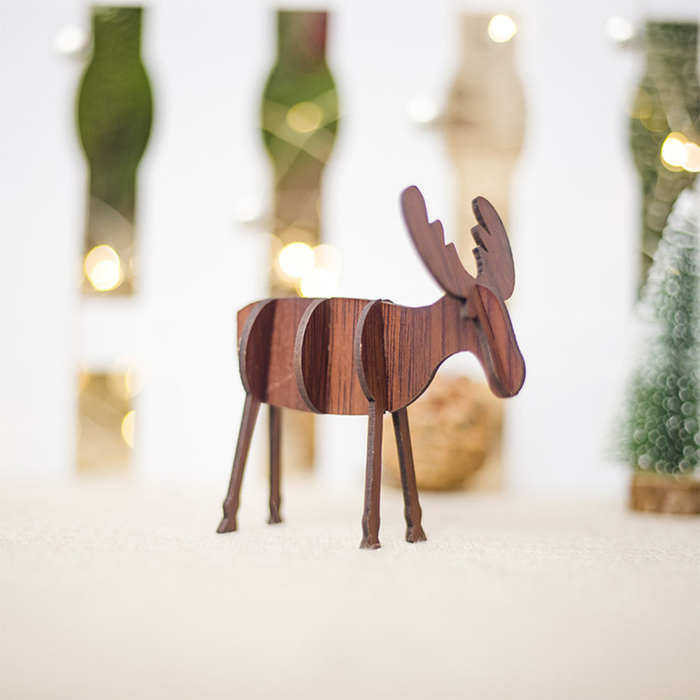 DIY Wooden Elk Shape Ornaments Christmas Decoration for Home Tabletop B2 deep coffee S