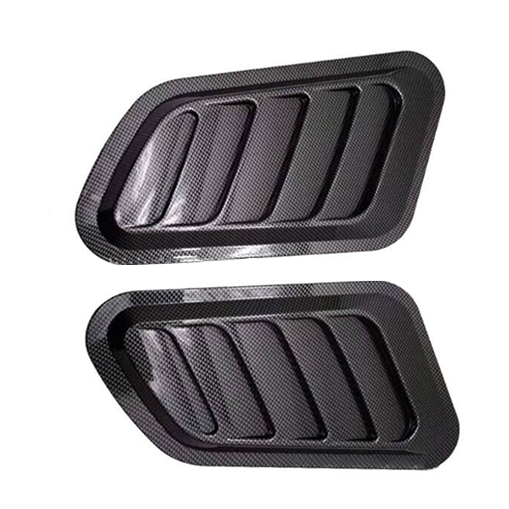1 Pair Car Fake Vent Air Outlet Leaf-shaped Adhesive Universal Modified Hood Decoration Carbon fiber