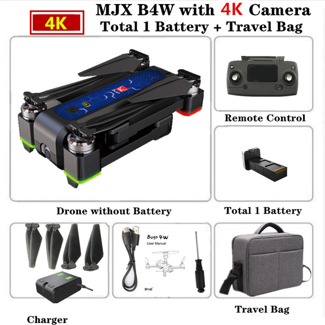 MJX B4W RC Drone GPS Drones with 5G WiFi 4K HD Camera Anti-Shake SD card GPS Optical Flow Follow Brushless Quadcopter VS X12 F11 Handbag