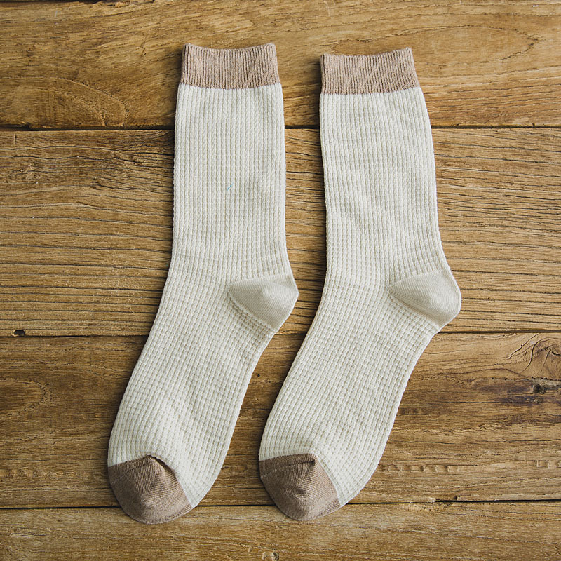 Man Mixed Colors Cotton Midium Length Business Casual Socks beige_One size