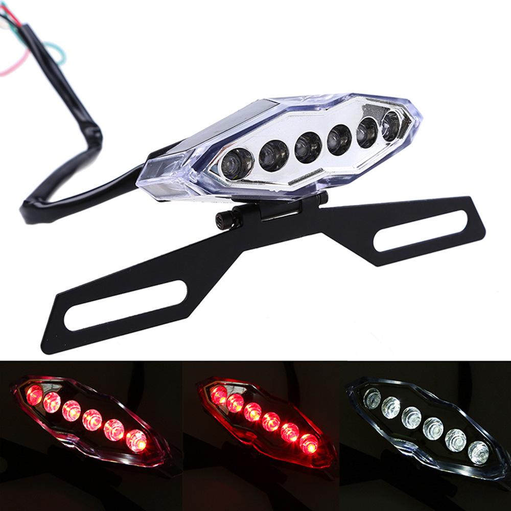 Universal LED Vintage Taillight 12V Brake Stop Lamp Motorcycle Retro Plate holder warning light plating