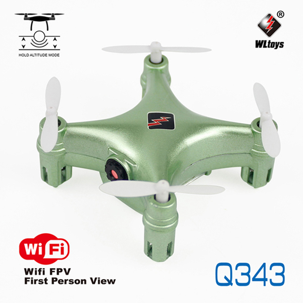 WLtoys Q343 Mini WIFI FPV With 0.3MP Camera Altitude Hold Mode 2.4G 4CH 6 Axis RC Drone Quadcopter green