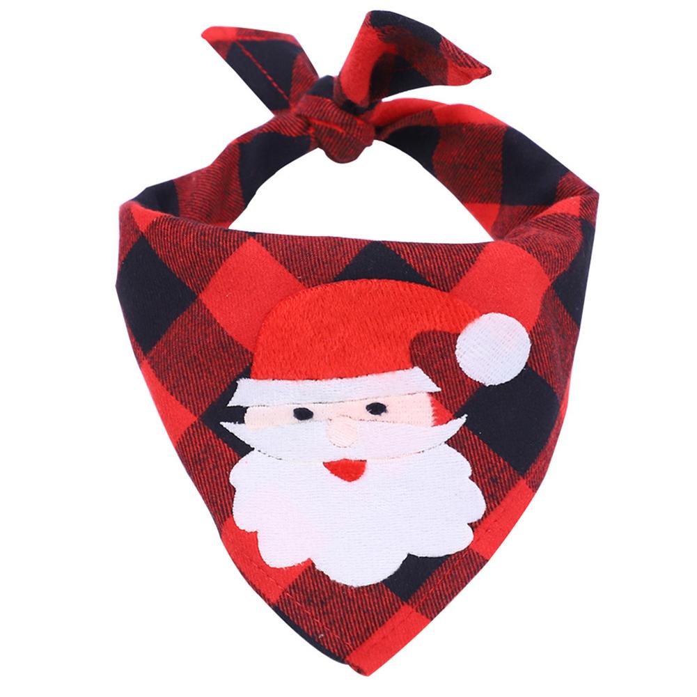 Pet Printing Bibs Saliva Towel Christmas Pattern Costume Decor for Small Cat Dog Christmas red plaid + Santa Claus