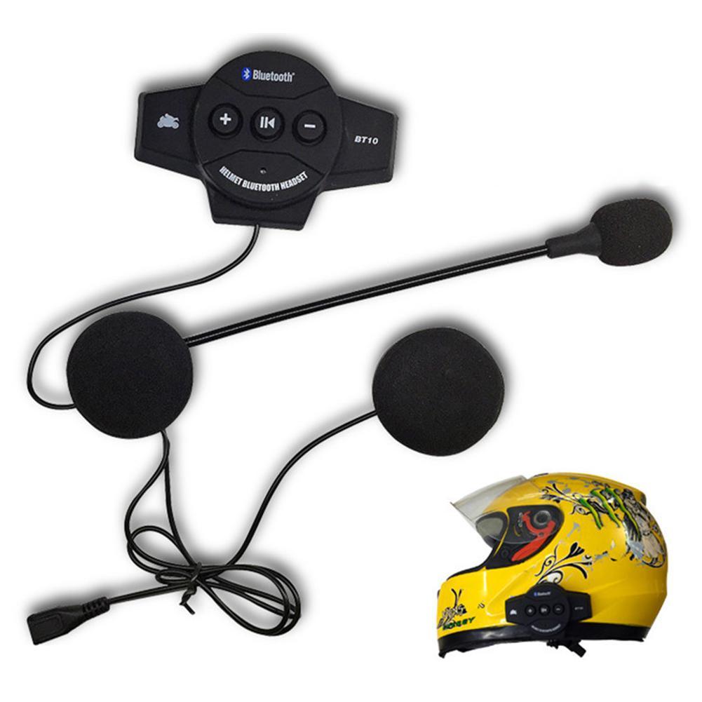 BT-10 Motor Wireless Bluetooth Headset Motorcycle Helmet Earphone Headphone Speaker Intercom Handsfree Music Earphone black