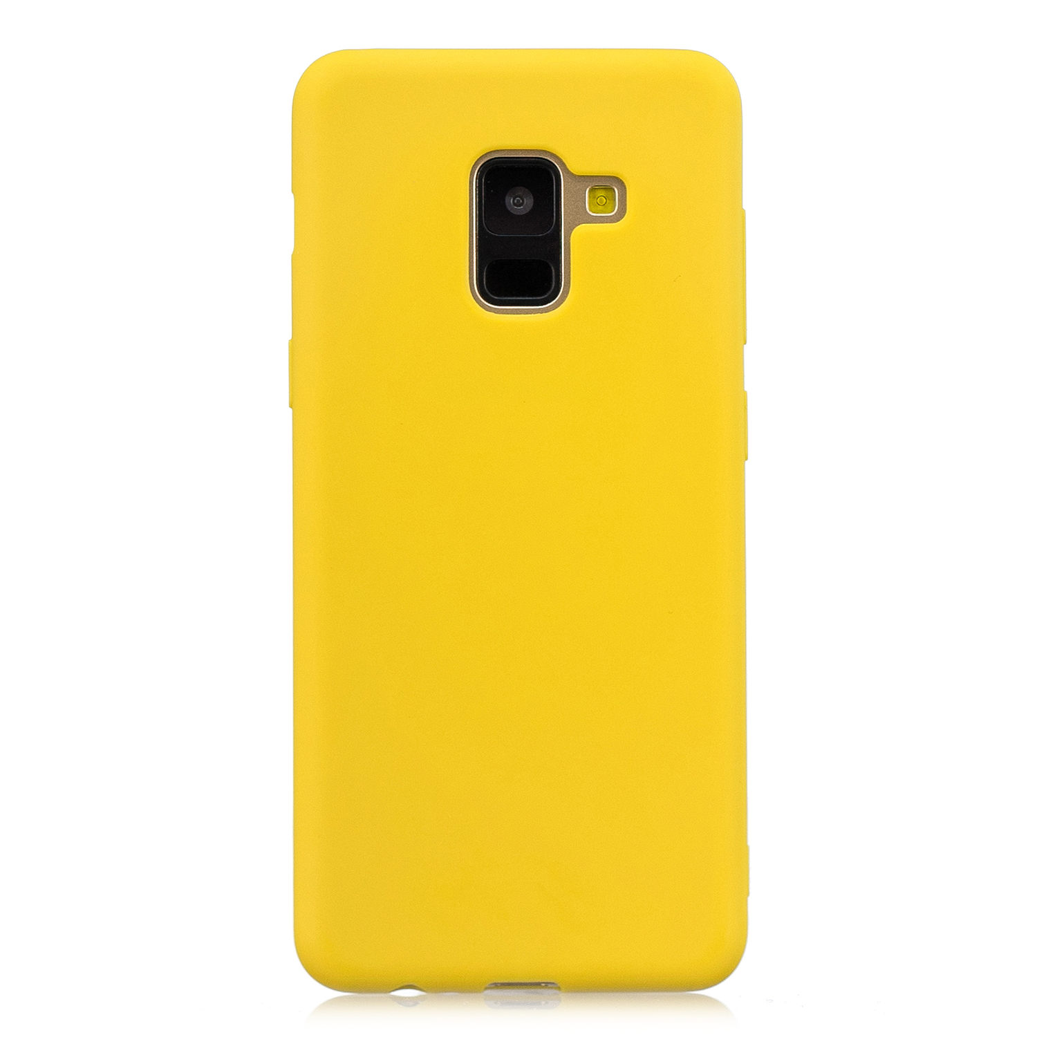 for Samsung A8 2018 Lovely Candy Color Matte TPU Anti-scratch Non-slip Protective Cover Back Case yellow