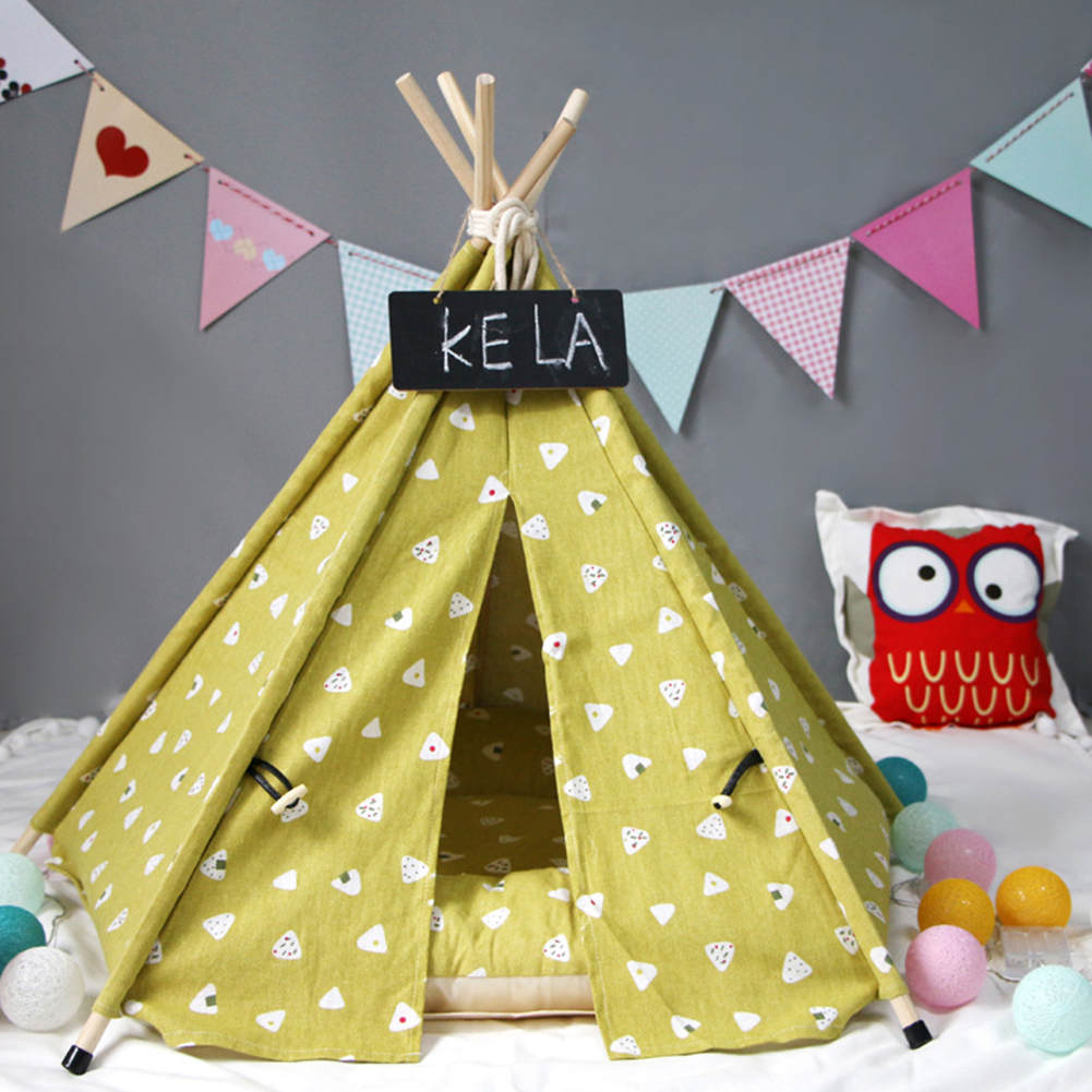 Pet Tent Teddy Poodle Small Dog Cat Kennel Wooden Pet Sleeping Nest