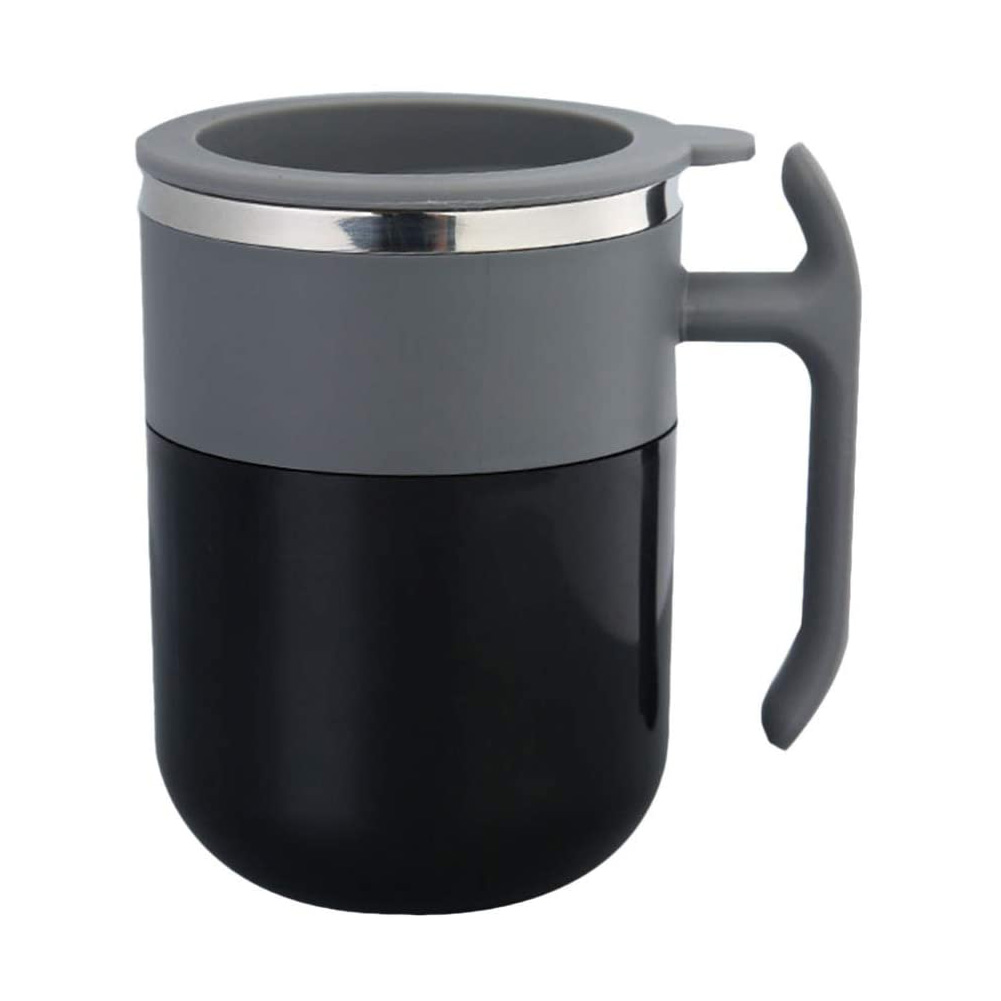 Self Stirring Coffee Mug Mixing Stainless Steel Cup for Office Home Coffee Tea Milk Drink black