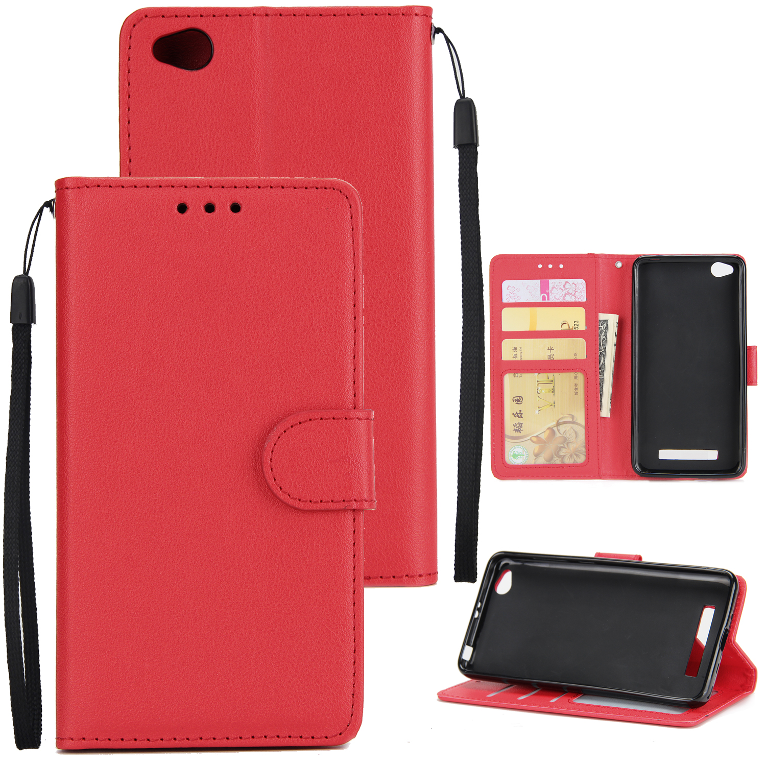 Ultra Slim Shockproof Full Protective Case with Card Wallet Slot for Xiaomi Redmi 5A red