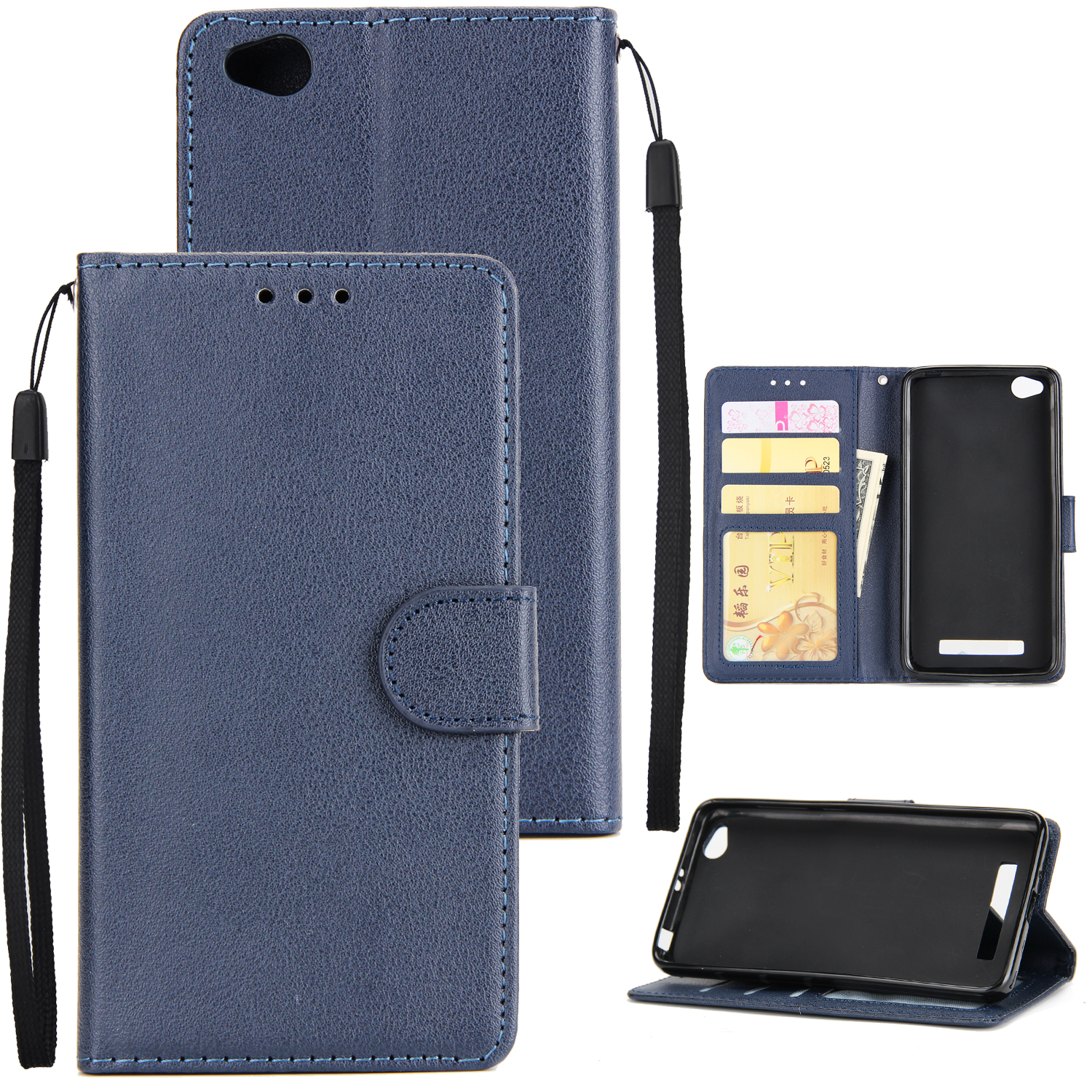 Ultra Slim Shockproof Full Protective Case with Card Wallet Slot for Xiaomi Redmi 5A blue