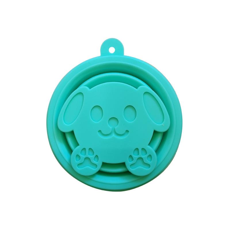 Extension-type Travel Washing Bottle Silicone Portable Foldable Tumbler Mint green dog