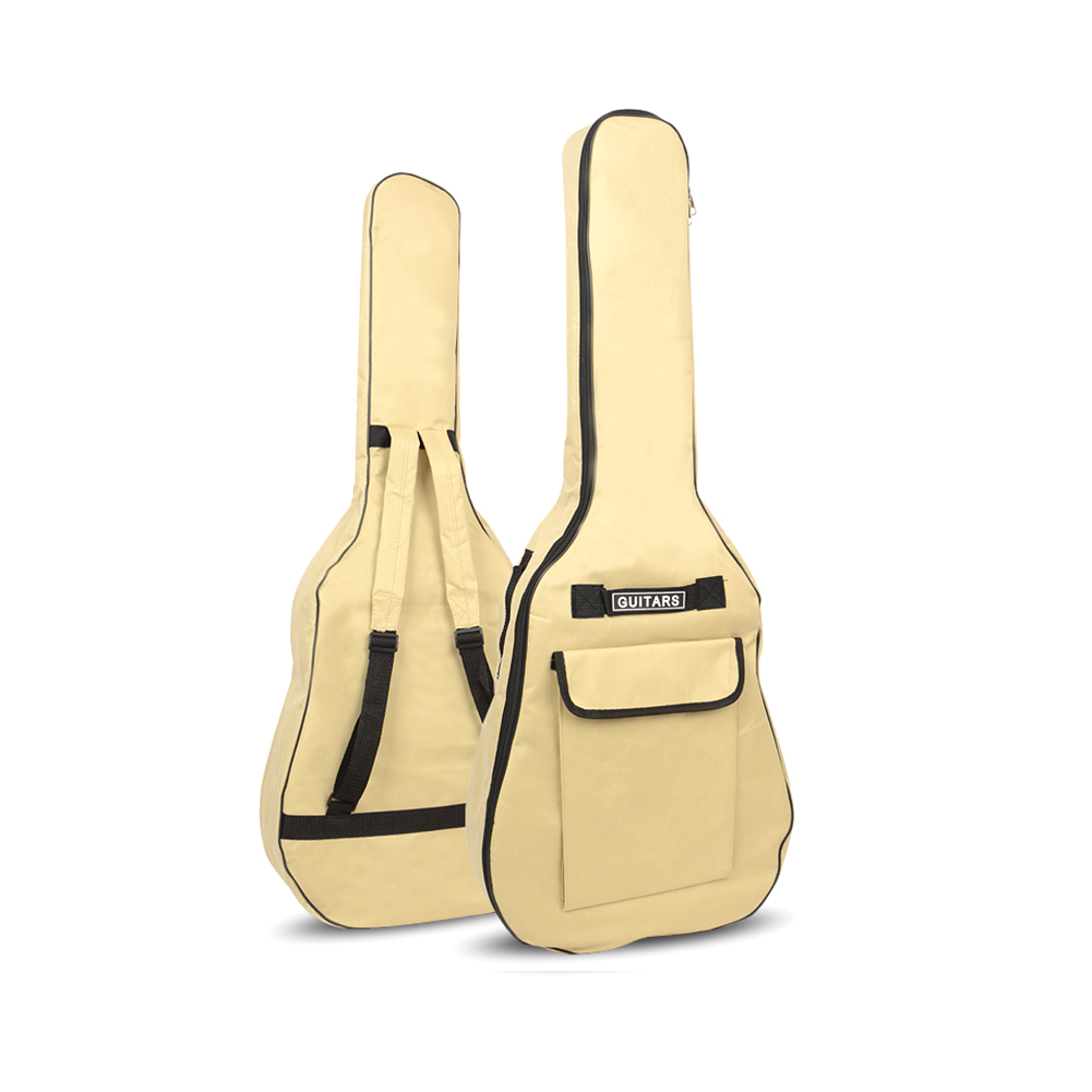 40/41 Inch Oxford Fabric Acoustic Guitar Gig Bag Soft Case Double Shoulder Straps Padded Guitar Waterproof Backpack cream color