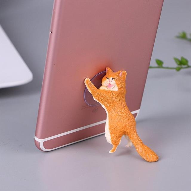 Cute Cartoon Cat Phone Holder Car Mount Sucker Bracket Universal for Sumsung Huawei LG iPhone X XS 8 7 6 yellow