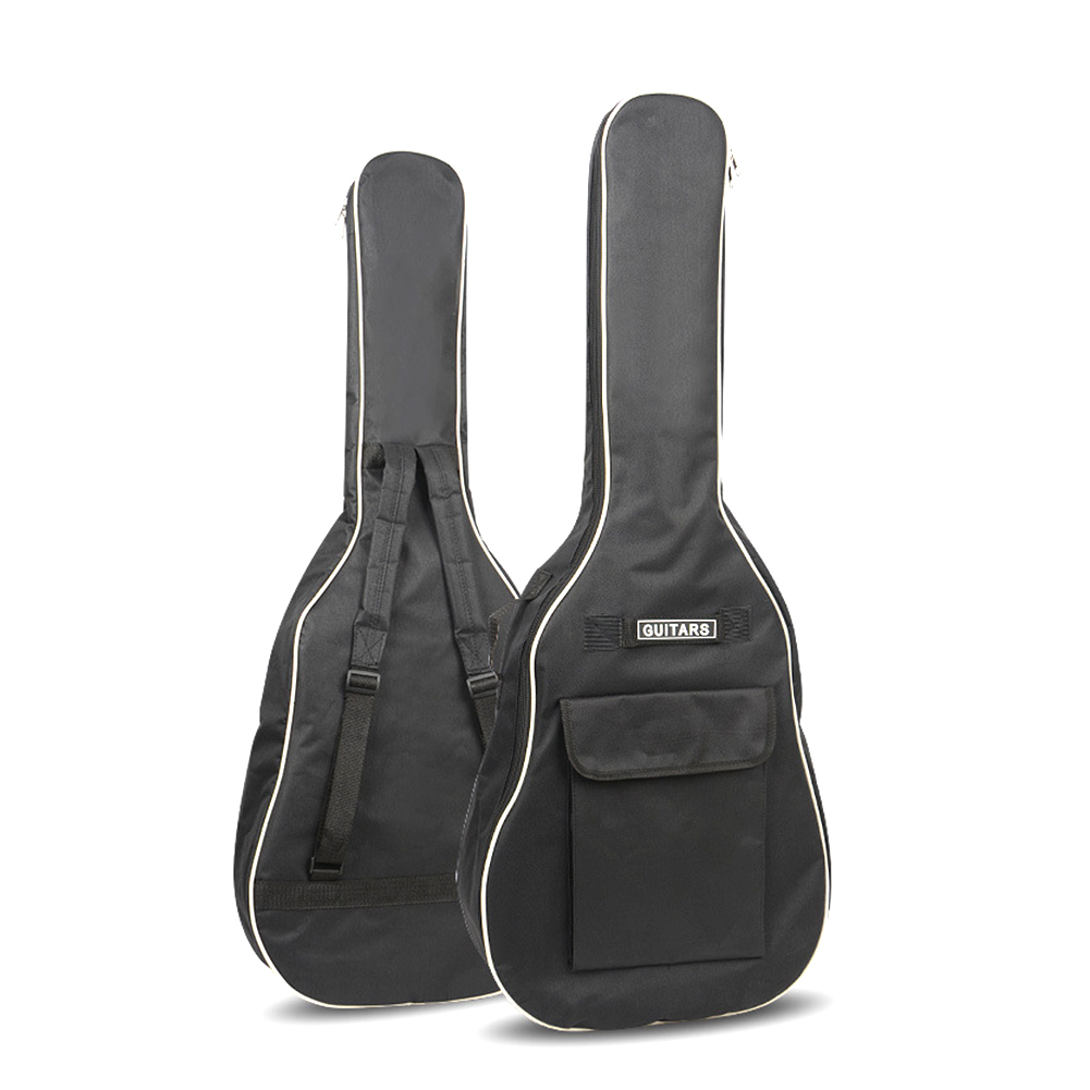 40/41 Inch Oxford Fabric Acoustic Guitar Gig Bag Soft Case Double Shoulder Straps Padded Guitar Waterproof Backpack black