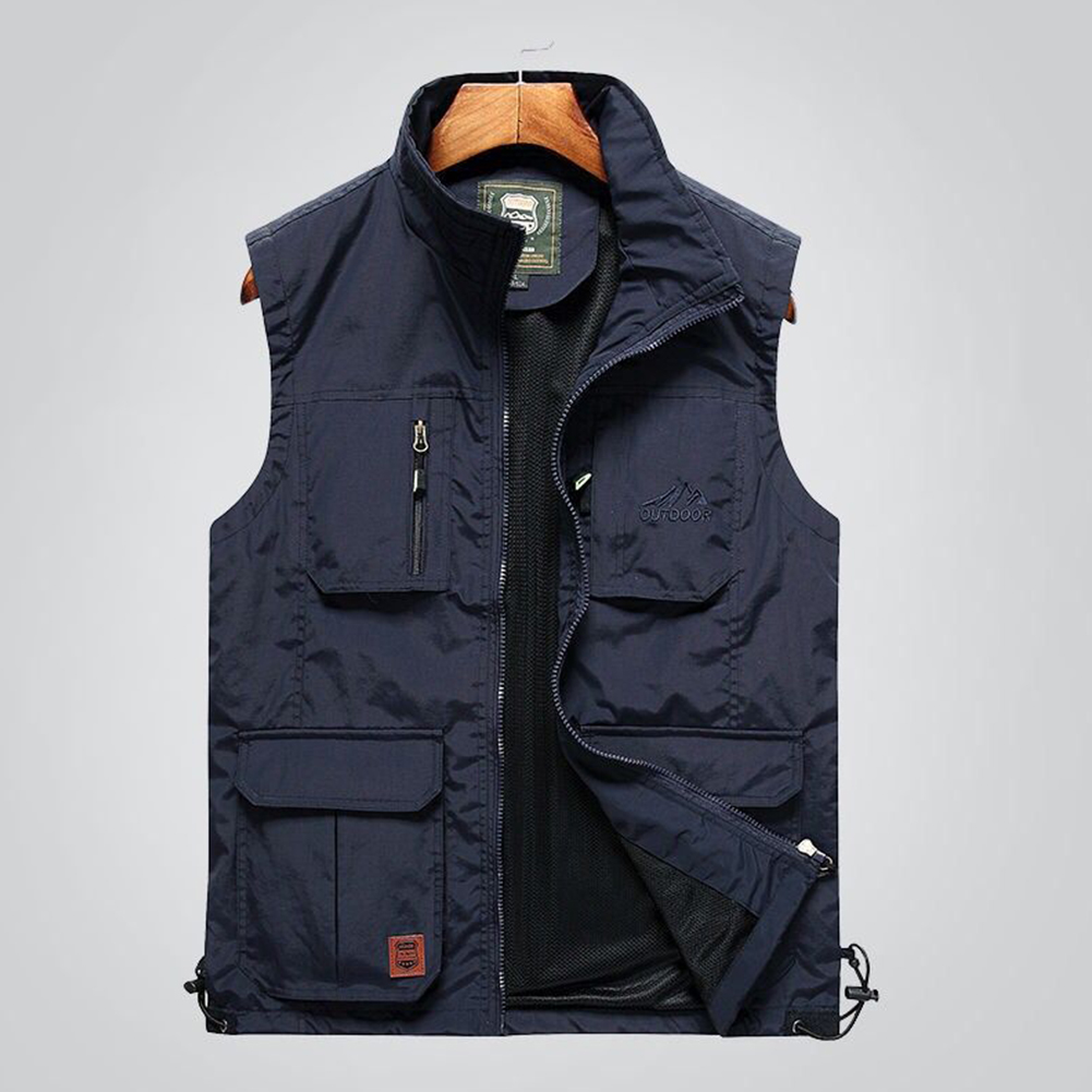 Outdoor Fishing Vest Quick-drying Breathable Mesh Jacket for Photography Hiking Navy_L