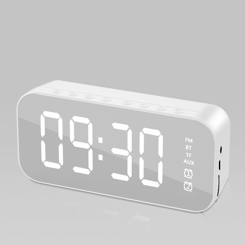 Wifi Mini Alarm Clock Nanny Clock Mirror Subwoofer Bluetooth Speaker white