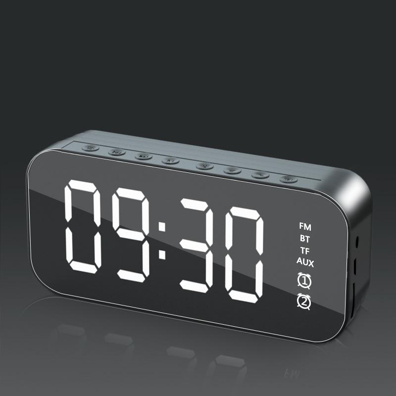 Wifi Mini Alarm Clock Nanny Clock Mirror Subwoofer Bluetooth Speaker black