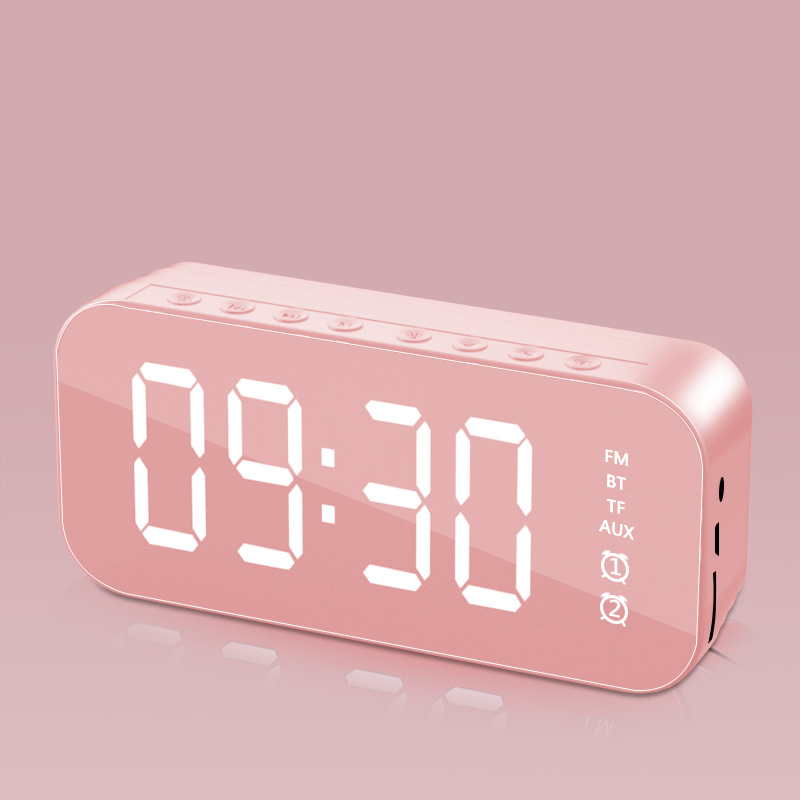 Wifi Mini Alarm Clock Nanny Clock Mirror Subwoofer Bluetooth Speaker Pink
