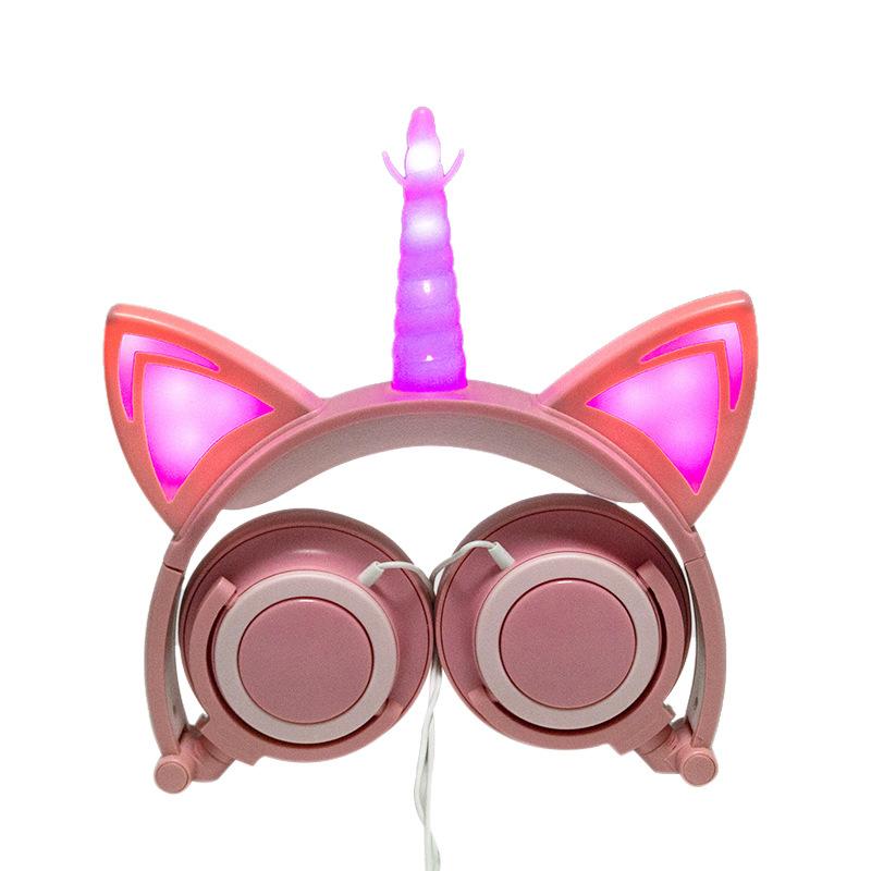 Cute Kids Cat Ear Headphones Wired Adjustable for Boys Girls Tablet Kids Headband Earphone Foldable Over On Ear Game Headset  Golden pink