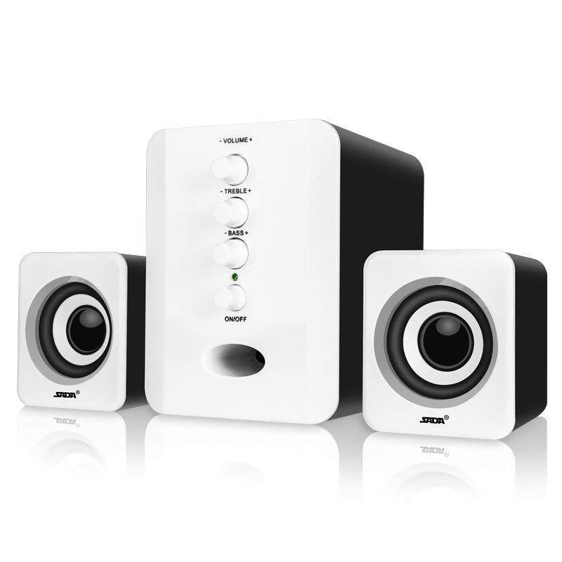 SADA Full Range 3D Stereo Subwoofer 2.1 Small PC Speaker Portable Bass Music DJ USB Computer Speakers for Laptop Phone TV Black and white