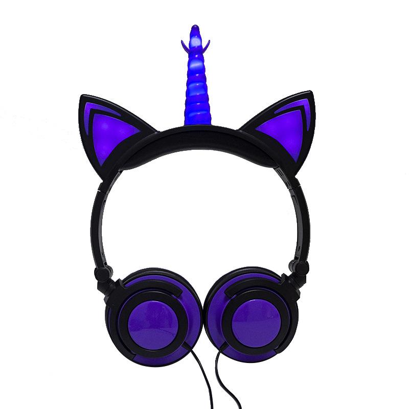 Cute Kids Cat Ear Headphones Wired Adjustable for Boys Girls Tablet Kids Headband Earphone Foldable Over On Ear Game Headset  Black purple