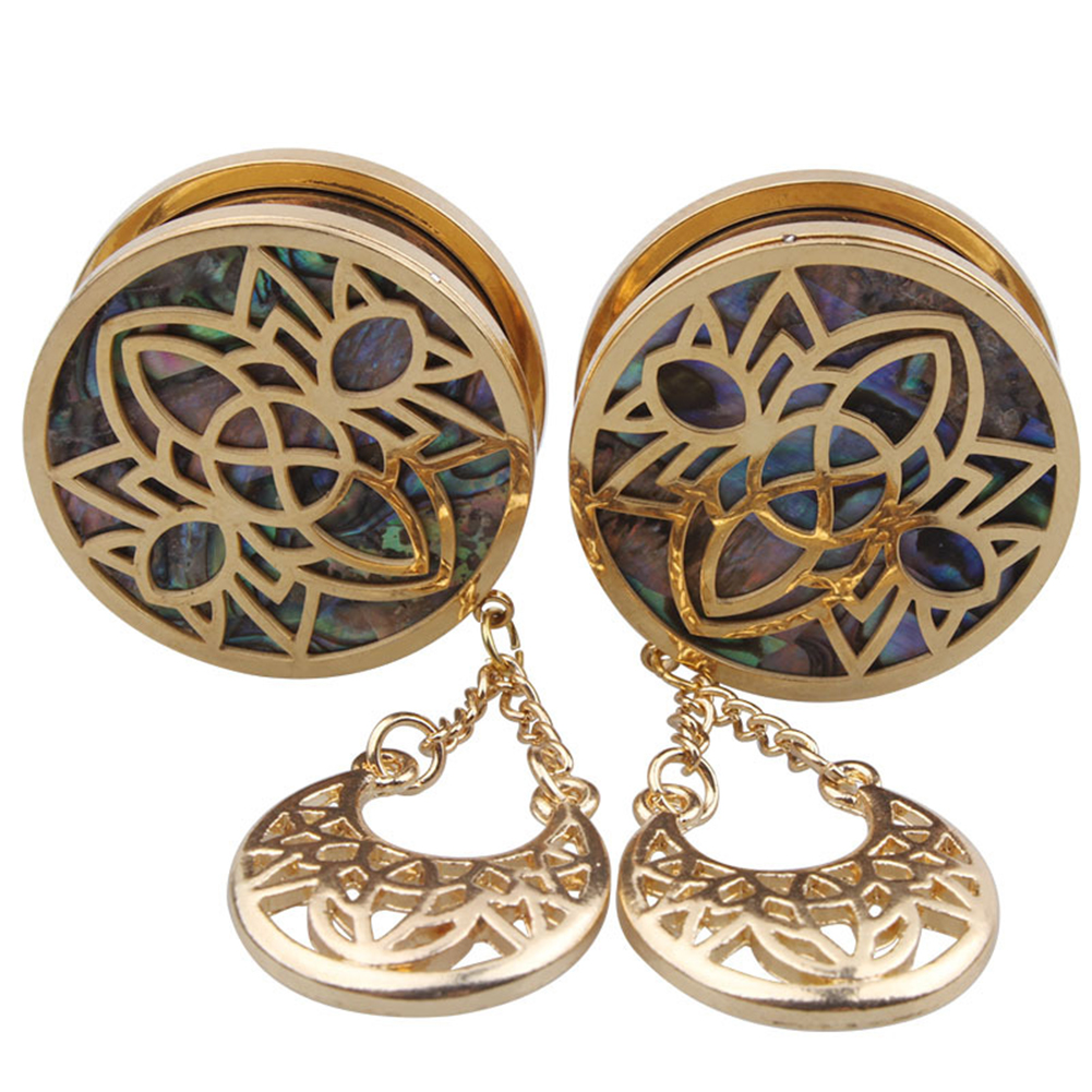 1 Pair Stainless Steel Hollow-out Pulley Earring Stylish Eardrop Ornament Birthday Festival Gift