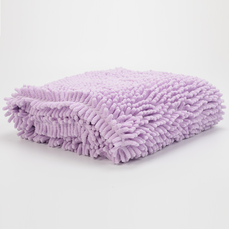 Soft Water Absorption Chenille Bath Towel for Pet Dog Cat Cleaning Massage Washing Purple L