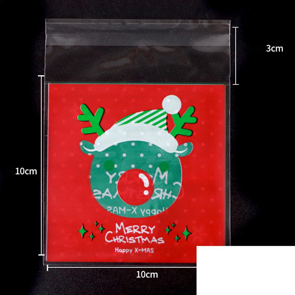 100pcs Christmas Tree Snowman Baking Bag Mooncake Cookie Biscuits Baking Packing Bag Gift Bag 051 Luhan old man