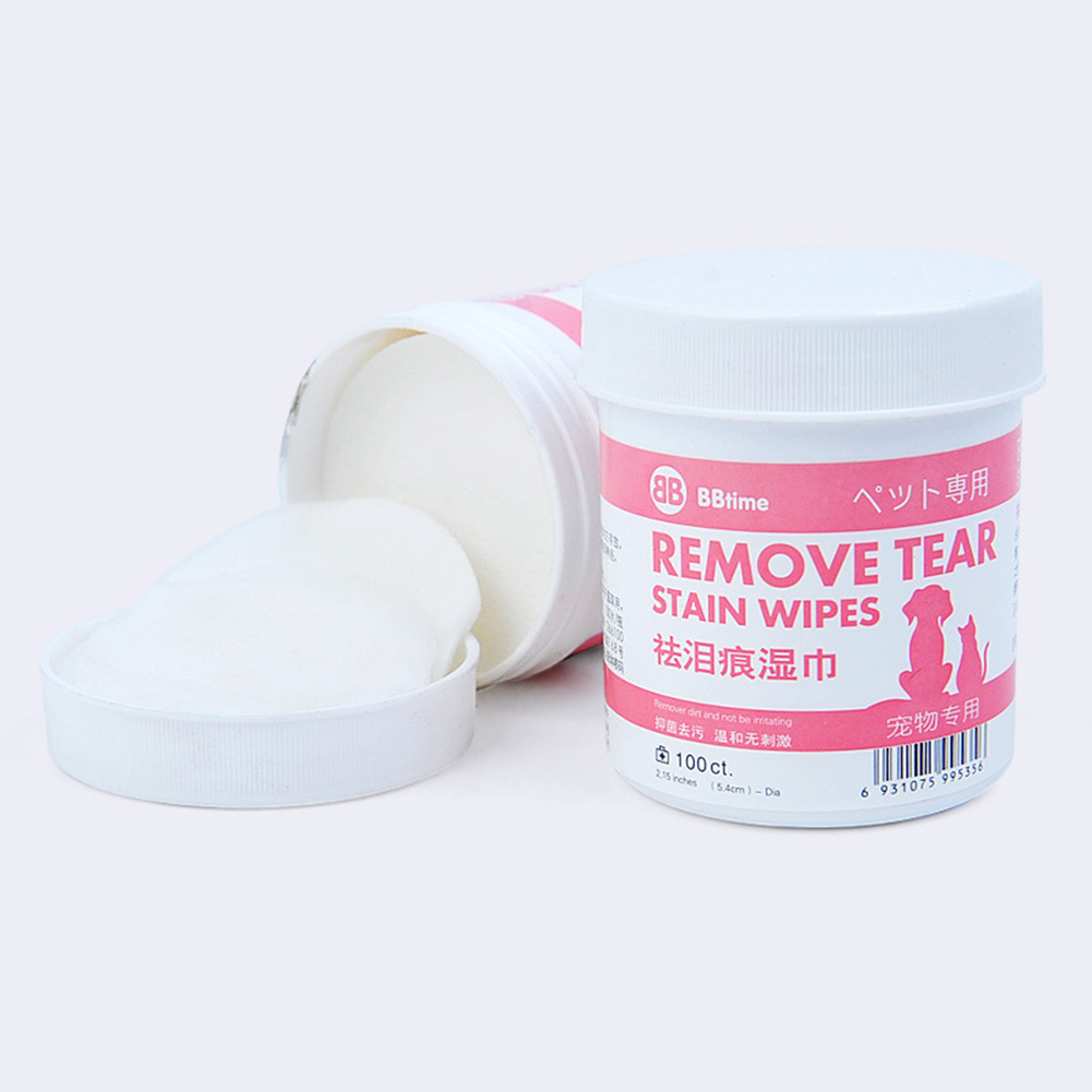 100Pcs Pet  Cleaning Wipes Tear Marks Remover for Cats Dogs Teddy Pomeranian L_100 pieces / can