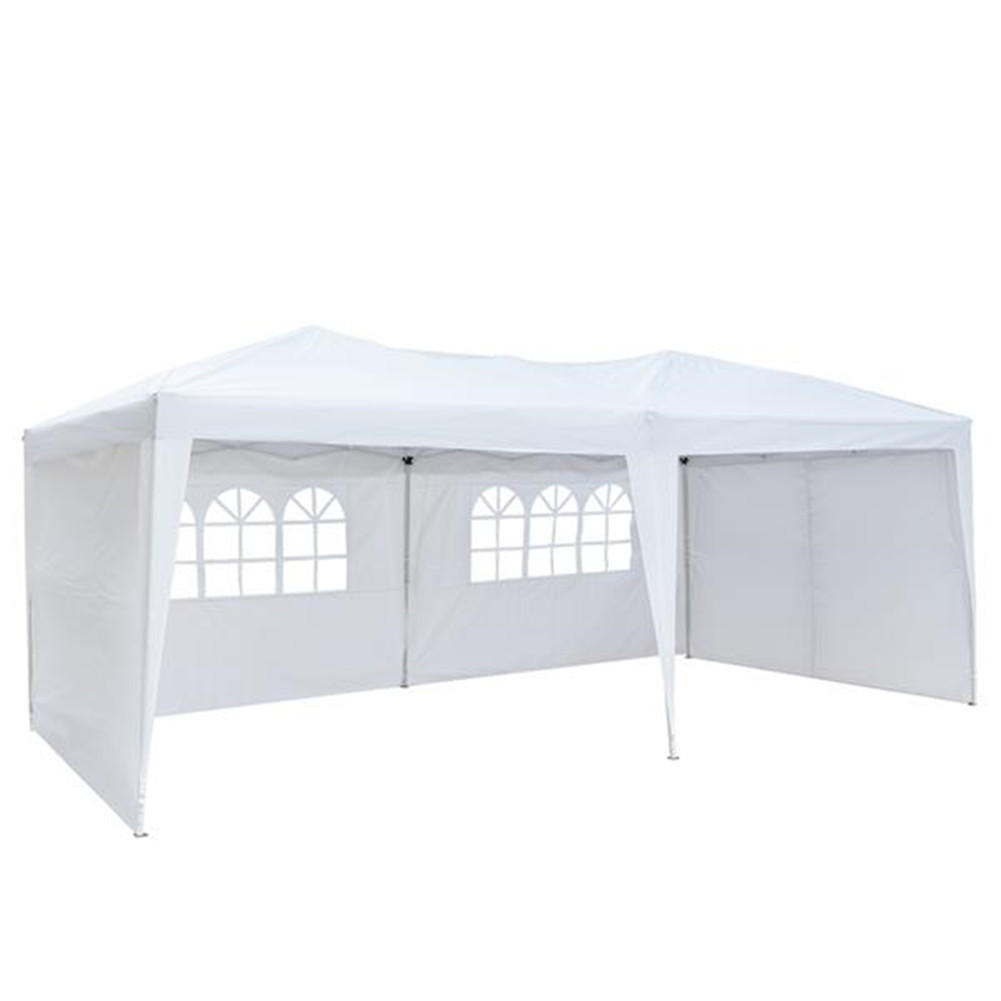 [US Direct] Portable Instant Open Canopy Shade Shelter 2 Door Gazebo Tent W/carry Case And Side Walls white
