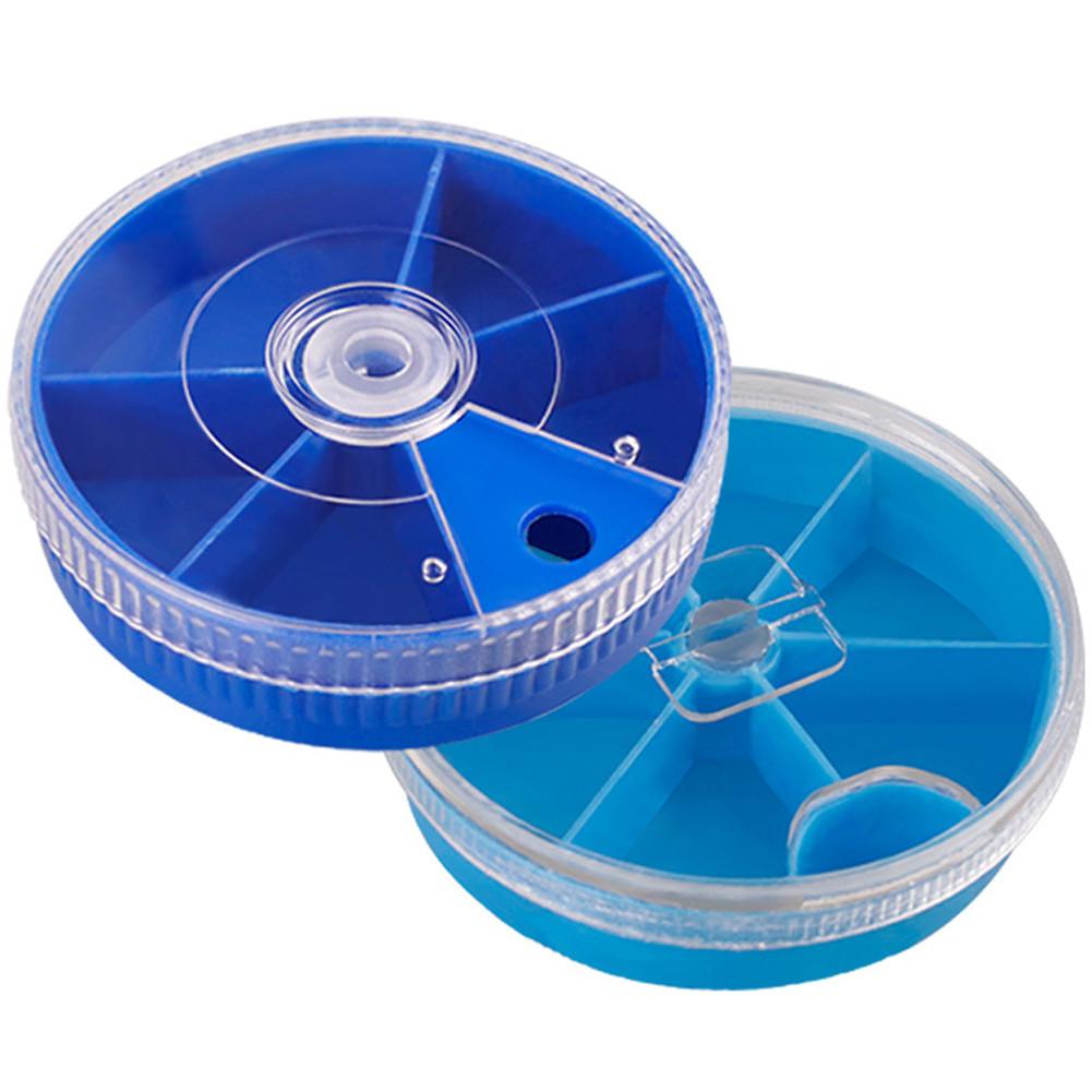 5/ 6 Grids Storage Box Transparent Rotating Mini Round Fishing Accessories Storage Box Dark blue_5 grid box