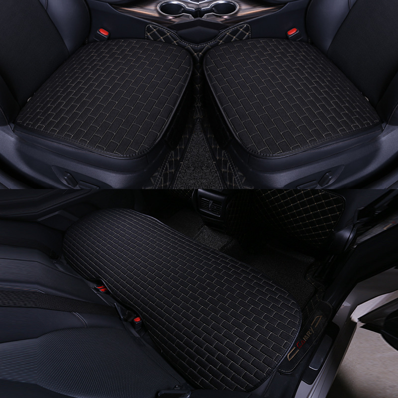 Car Seat Cover set Four Seasons Universal Design Linen Fabric Front Breathable Back Row Protection Cushion Black beige _Five-piece suit (small waist)