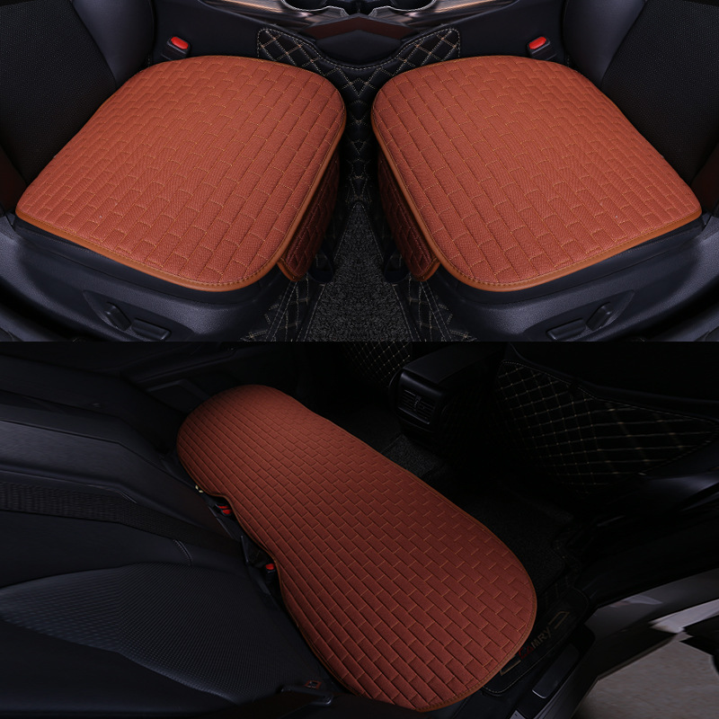 Car Seat Cover set Four Seasons Universal Design Linen Fabric Front Breathable Back Row Protection Cushion Yellow _Five-piece suit (small waist)