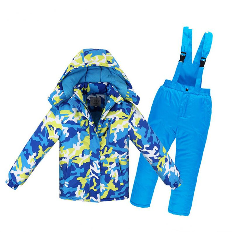 Boys/Girls Ski Suit Waterproof Pants+Jacket Set Winter Sports Thickened Clothes Blue and yellow camouflage_10A (height 140cm)