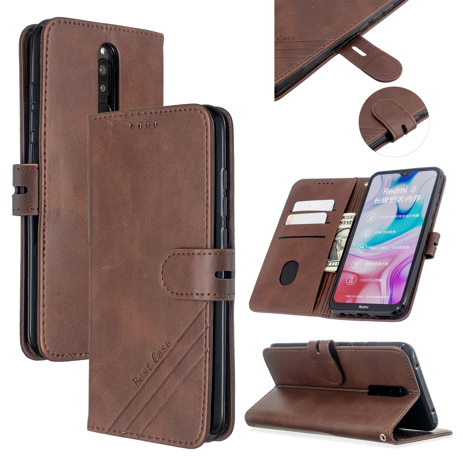 For Redmi Note 8T/Redmi 8/Redmi 8A Case Soft Leather Cover with Denim Texture Precise Cutouts Wallet Design Buckle Closure Smartphone Shell  brown