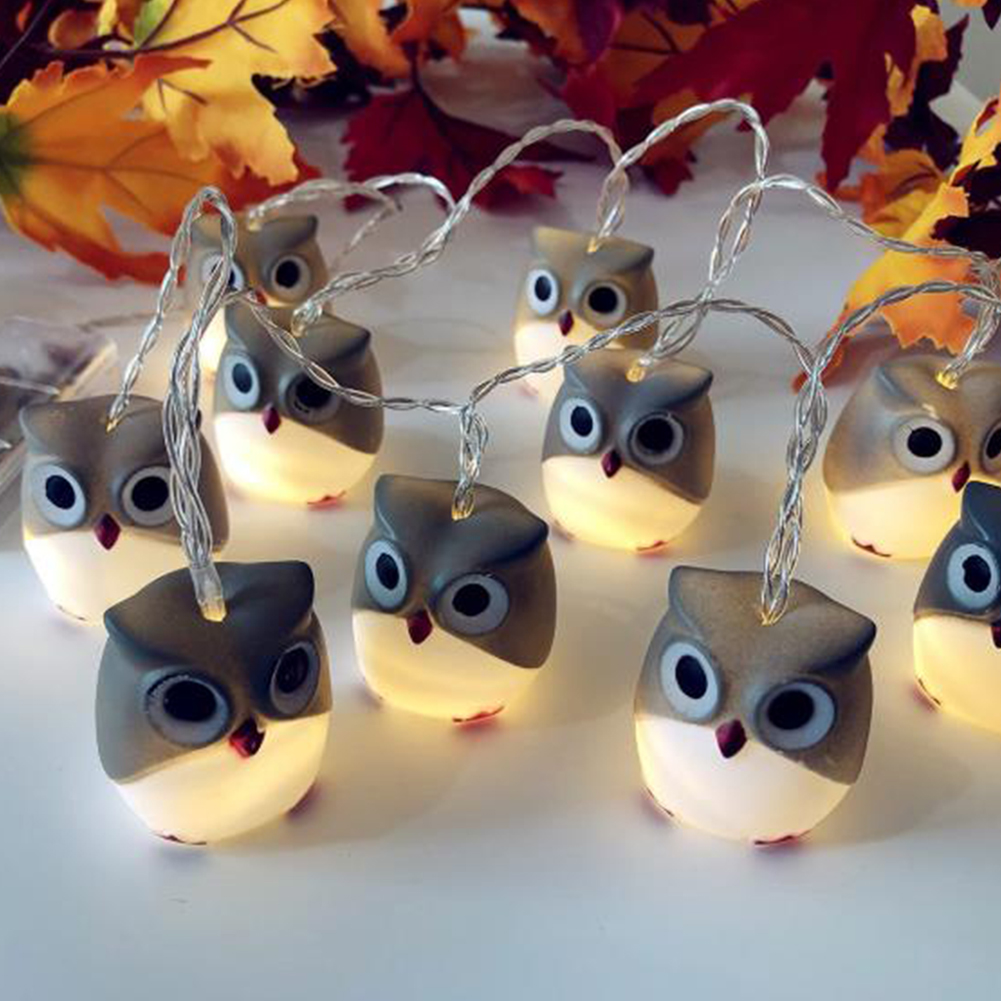 LED Christmas Halloween Scary Owl String Lights for Home Bar Patio Indoor Outdoor Wedding Decoration Flash Lights  Gray Owl - Warm White