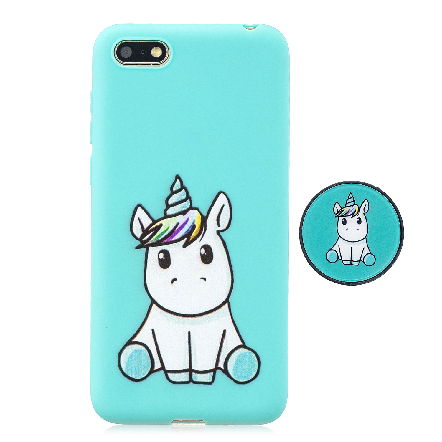 For HUAWEI Y5 2018 Pure Color Phone Cover Cute Cartoon Phone Case Lightweight Soft TPU Full Cover Phone Case with Matching Pattern Adjustable Bracket 5