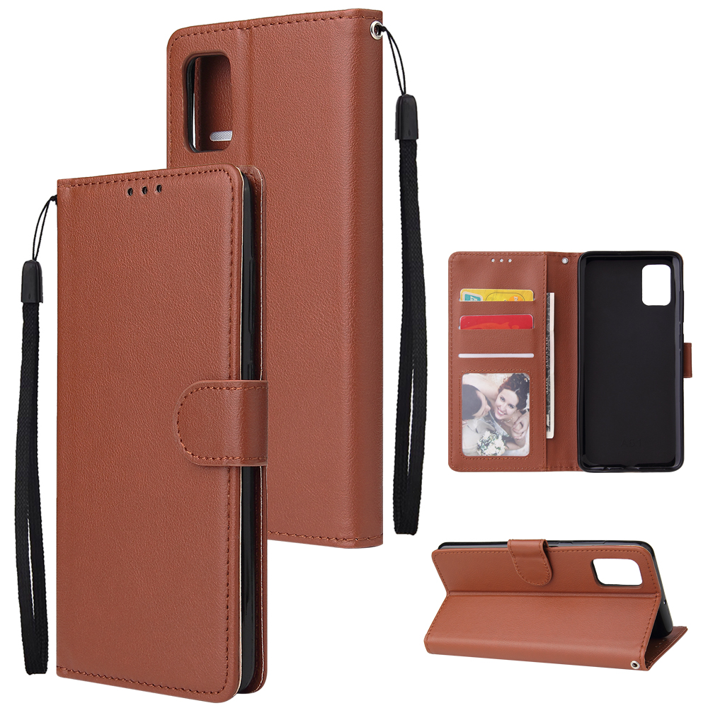 For Samsung A71 Phone Case PU Leather Shell All-round Protection Precise Cutout Wallet Design Cellphone Cover  Brown